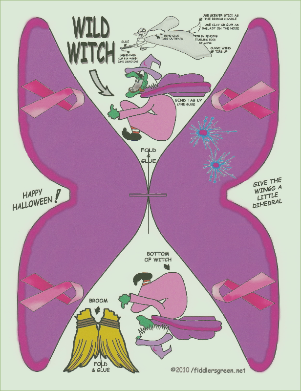 free paper model download Breast Cancer Awareness Halloween Witch 2
