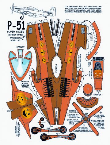 free paper model download P-51 - Halloween page 1