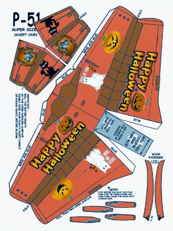 free paper model download P-51 - Halloween page 2