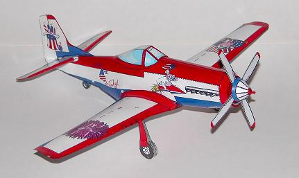 Fourth of July P-51 Mustang paper model